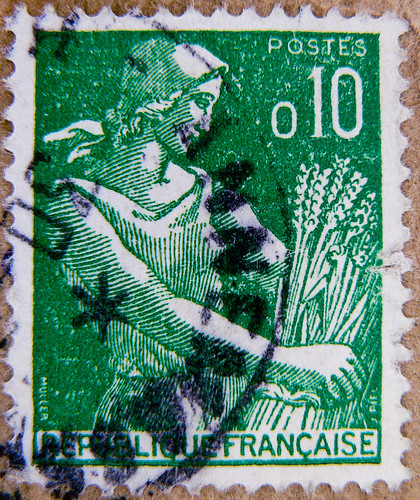 beautiful old french stamp 0,10 (farmers wife, paysanne, la campesina, крестья́нка, agricoltrice, die Bäuerin) timbre Francaise France Briefmarke Frankreich RF Postes francaise postage revenue porto francobolli bollo sello marke marka franco timbres 0.10