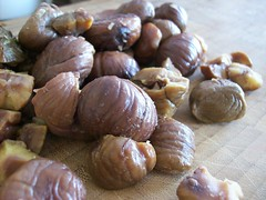Chopping Chestnuts (jazzijava) Tags: family food holiday home cooking cookies fruit recipe baking blog italian december photos sweet chocolate egg nuts blogger butter cranberries chestnuts blogged cooked sour tart whitechocolate baked christmascookies tangy shortening whatsmellssogood httpkitchenconfidantecom cranberrychestnutcookies