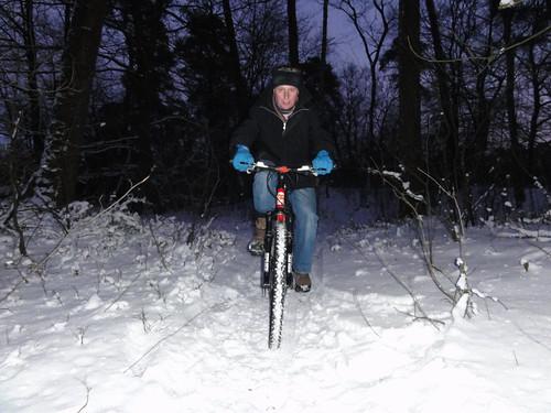 Mountain biking in the snow before Christmas Dinner
