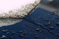 Snow becomes ice, ice becomes water (alonbj) Tags: meltingsnow macrophotograph
