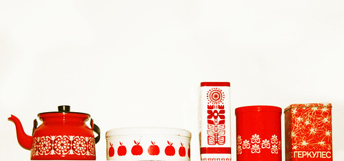 Red and white retro tins