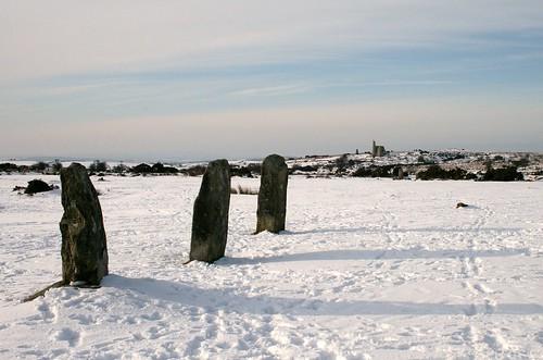Hurlers in snow, Bodmin Moor
