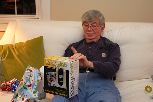 Christmas 2010:  Pappy checking out his slide scanner.