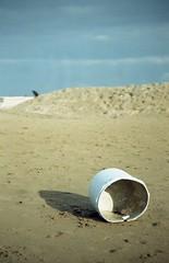 Bucket (Robarubata) Tags: blue sea bucket sand focus minimal tones