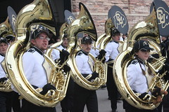 The Colorado University Golden Buffalo Marching Band getting ready for the game with Texas Tech (Hazboy) Tags: usa west college sports field america us football big cu colorado university folsom band horns western conference 12 horn tuba brass buffs buffaloes hazboy hazboy1 marchind