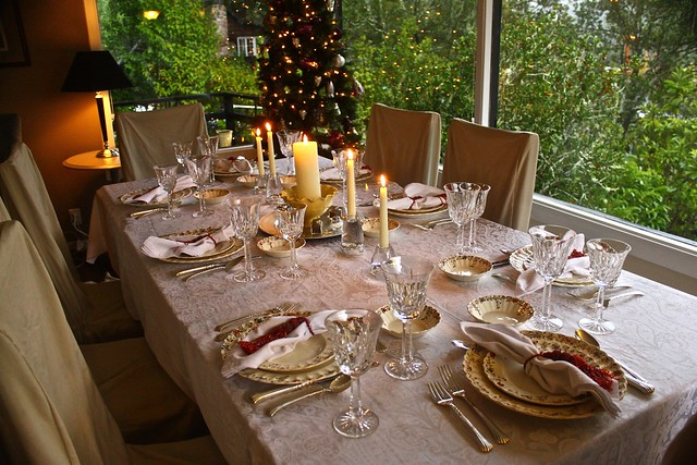 china christmas winter glass dinner livingroom fancy tablesetting