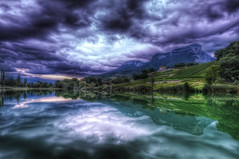 Retour au Lac Saint Andr {EXPLORED} (Girolamo's HDR photos) Tags: light sky lake france nature clouds canon reflections french landscape photography savoie hdr girolamo photomatix tonemapping canoneos50d lacsaintandr cracchiolo omalorig wwwomalorigcom gettyimagesfranceq1
