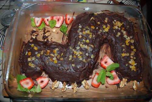 caterpillar cake midway through creation