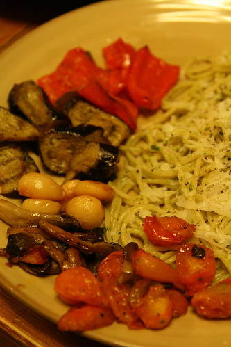 Roasted Vegetables and Pesto Spaghetti