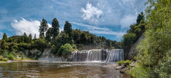 Raukawa Falls (Mark Solly (F-StopNinja)) Tags: trees newzealand summer panorama fall wet water pool clouds river waterfall bush pano scenic spray wanganui whanganui manawatu paraparas sigma1020mm nikond90 mangawhero