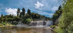 Raukawa Falls (Mark Solly (F-StopNinja)) Tags: trees newzealand summer panorama fall wet water pool clouds river waterfall bush pano scenic spray wanganui whanganui manawatu paraparas sigma1020mm nikond90 mangawhero