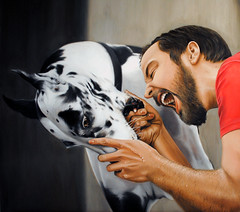 Bite me (Linnea Strid) Tags: portrait dog playing man art painting artist play oil biteme commission photorealism linneastrid