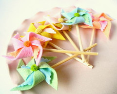 Wool Felt Pinwheel Cupcake Toppers (KnockKnocking) Tags: pinwheel