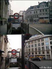 Monument station`1988-2011 (roll the dice) Tags: city uk windows london art classic monument architecture circle underground traffic district tube mcdonalds shops 1922 demolished oldandnew roundel ec4 kingwilliam pastandpresent londonist houseoffraser 2011 squaremile bygone hereandnow ec3
