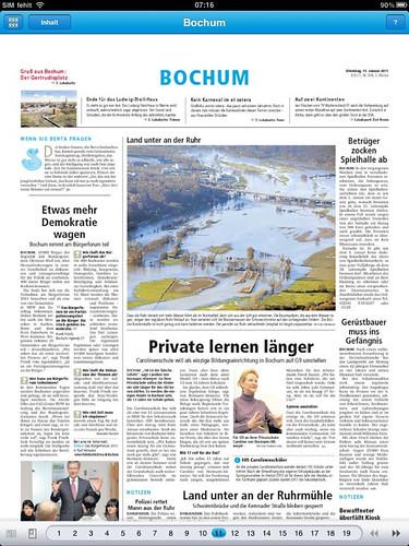 Ruhr Nachrichten iPad-App: Lokalseite Bochum
