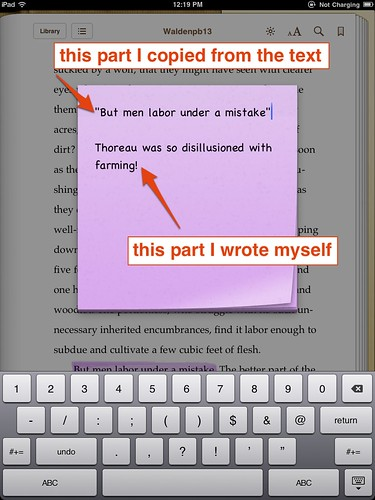 Creating a note in iBooks 1.2 on iPad