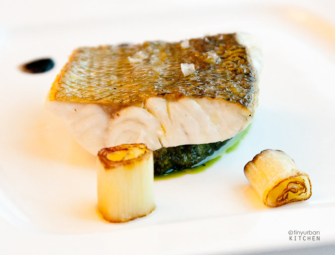 Sea bass with leek ash