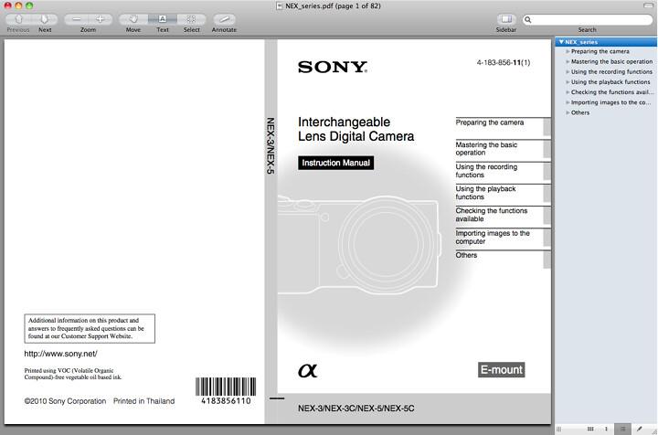 Sony NEX-5 Instruction Manual