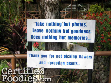 Sign at the garden inside Good Shepherd Convent in Baguio - CertifiedFoodies.com