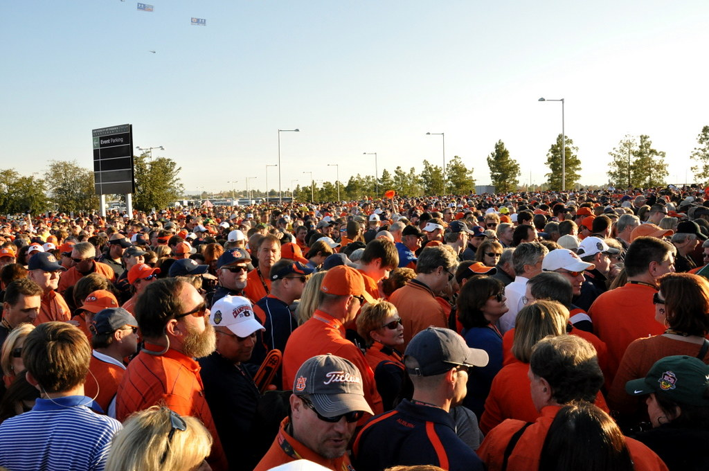 Crowd going into the gates