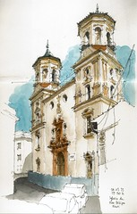 Mlaga, Iglesia de San Felipe (Luis_Ruiz) Tags: church architecture sketch spain drawing iglesia andalucia baroque andalusia dibujo malaga mlaga barroco urbansketchers