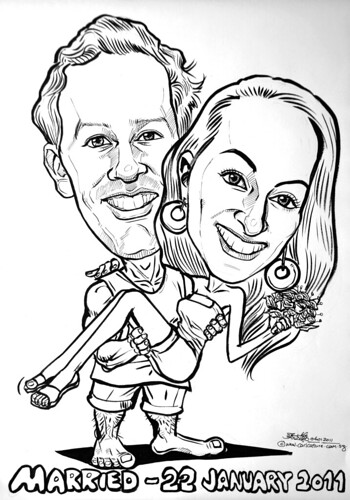 wedding couple caricatures in pen and brush