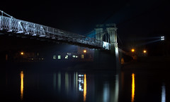 Wilford Suspension Bridge (thelucidicone) Tags: nottingham uk bridge water night 35mm reflections river lens prime lights nikon suspension highlights nighttime trent nikkor f18 afs dx wilford floodlights thelucidicone