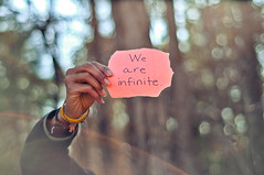 We are Infinite. (tyreke.white) Tags: pink blue trees white green yellow paper nikon hand bokeh text fingers bracelet flare sharpie d5000