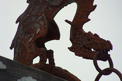 Here there be dragons (Home Land & Sea) Tags: newzealand sculpture art metal dragon steel rusty nz wellington miramar pointshoot sonycybershot dsch3 wetacave homelandsea
