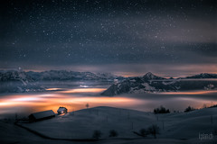... house above the clouds ... (dmkdmkdmk) Tags: sky house mountain snow mountains alps night stars lights switzerland hdr seaoffog bratanesque Astrometrydotnet:status=failed astro:subject=nightsky astro:gmt=20101229t2158 Astrometrydotnet:id=alpha20110412942512