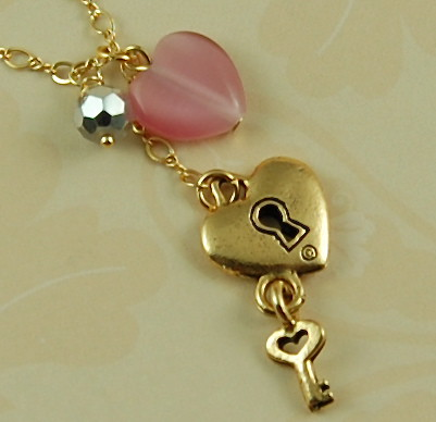 Key to Your Heart Pendant Necklace with 14Kt Gold Chain