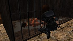 Finding Angel (alexandriabrangwin) Tags: world rescue woman leather angel computer 3d graphics dungeon prison secondlife virtual chan corset guns pistols cgi adventurer gor punished gorean alexandriabrangwin
