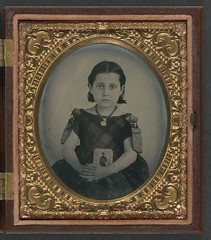 [Unidentified girl in mourning dress holding framed photograph of her father as a cavalryman with sword and Hardee hat] (LOC) (The Library of Congress) Tags: girl child civilwar libraryofcongress americancivilwar warbetweenthestates uscivilwar thecivilwar xmlns:dc=httppurlorgdcelements11 dc:identifier=httphdllocgovlocpnpppmsca26863