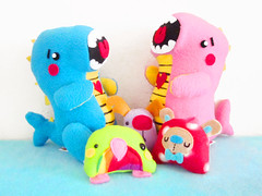 Custom Order (casscette) Tags: pink blue cute penguin colorful bright handmade crafts pair plush rawr dinosaurs