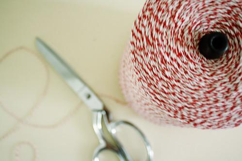 scissors, twine