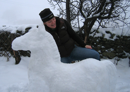 Mounting the snow horse