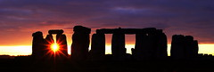 [Free Image] Architecture/Building, Archaeological Site, Sunset, Stonehenge, World Heritage, United Kingdom, Panorama, 201012080100