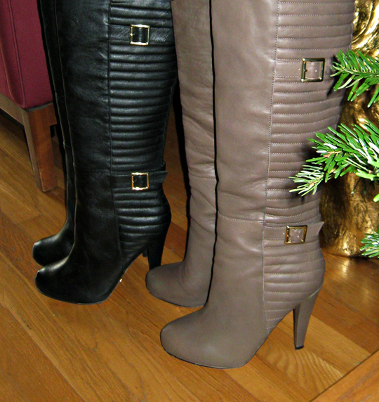 leather over the knee boots with buckles