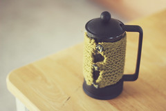 French Press Cozy (Sarah Jane (LovelyEmberPhotography)) Tags: black green kitchen coffee cozy buttons knit frenchpress cutelittlething ireallylikebuttons ihavebeenusingthemsomuchineedtoreplenishmystash