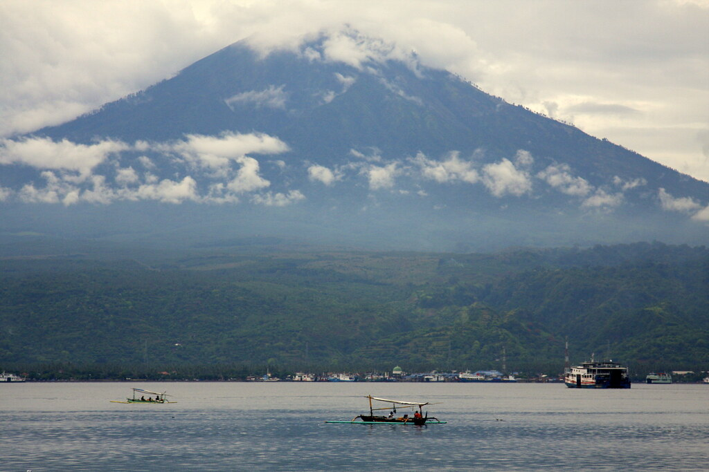 Distant volcano on Java, from Gilimanuk, Bali, Indonesia