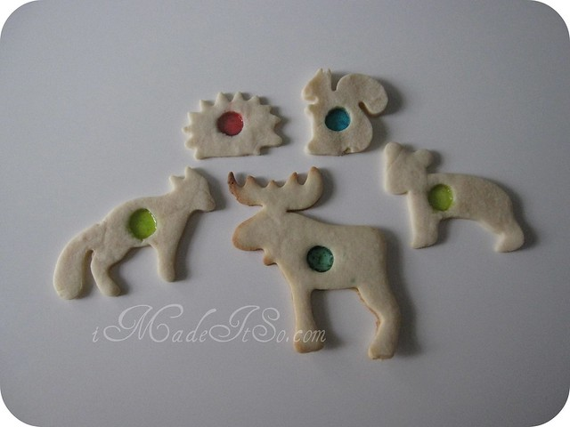 stained glass sugar cookies shaped like animals