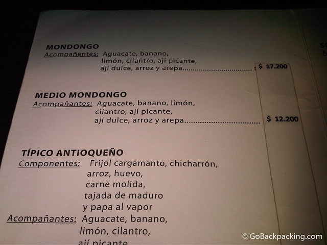 Mondongo's menu