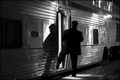 Conductor and Shadow (K-Szok-Photography) Tags: california monochrome night canon outdoors lowlight nightimages nightshot socal amtrak transportation nights nightshots canon5d oc canondslr fullerton canon70200f4l blackandwhit nightimage amtk adifferentpointofview travelbytrain 6millionpeople amtrk aphotographersnature kenszok fullertoncalifonia