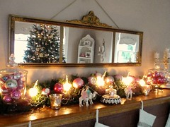 Christmas mantel decor 2010...love my antique piano mirror! (eg2006) Tags: christmas old pink etched reflection glass beautiful glitter vintage gold mirror fireplace aqua pretty display mercury antique cottage balls kitsch garland retro sparkle ornaments romantic ornate decor camels vignette nativity votives candleabra mantel wisemen celluloid apothecaryjar pianomirror