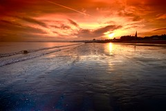 Portobello beach (OnlyEverOneJack) Tags: winter sea seascape beach sunrise fire scotland sand edinburgh exposure shot sony wideangle line scot portobello alpha filters grad tamron ultrawide groyne tobacco leading fireinthesky firth tabacco firthofforth cockenzie cokin leadingline sonyalpha scotlandsunset a450 1024mm cokinpseries scottishsunrise tamron1024mm sonyalphaa450 onlyeveronejack wwwimagesbyandrewjackcouk