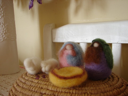 wool felted nativity set