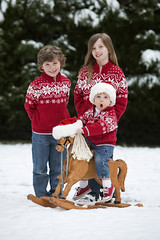 Ho Ho Ho Merry Christmas (-Angela) Tags: santa christmas winter snow hat backyard siblings rockinghorse hohoho