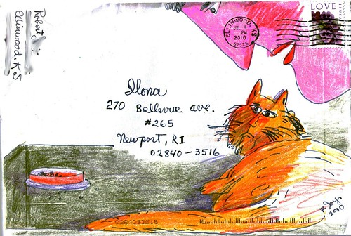 Cat conversation mail art