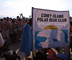 Polar Bear Club New Years Day Swim 2011-29 (negra223) Tags: brooklyn coneyisland polarbearclub firstswim jan1st2010 beach snow bathiingsuits crazy 40degrees people running crowds yelling ocean jumpingin mobs excitment funny brave cameras tvcrews fun freezing water newyearsday photographers wrongmode manypeople sand wet nuts adrenaline halfnaked lol happy santa inthewater newyearshats event eiffeltower kilts characters penguins agreatday wetfeet cold wonderwheel flag rush dog picketing splashes boats gloves boots fur newyork tattoos oilspill
