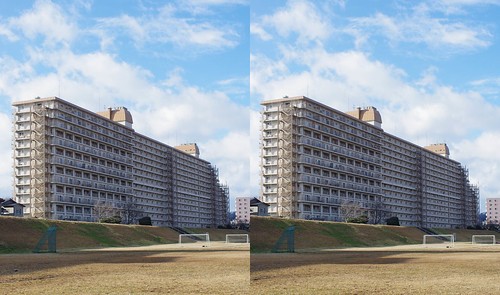 Apartment house, stereo parallel view